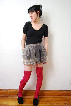 vintage 1980s / plaid / wool / pleated / mini / skirt / by YeYe, $22.00