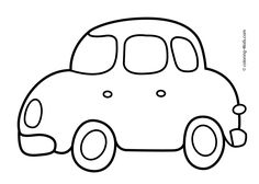 Simple car transportation coloring pages for kids, printable free
