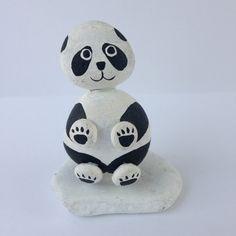 Vintage Painted Rock Panda