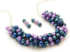 Lilac Teal Bridesmaid Chunky Pearl Cluster by crystaljemscouk