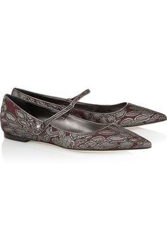 Dolce & GabbanaChaussures plates à bouts pointus en brocart fleuri métallisé