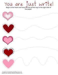 3 different heart themed pre-writing activities to mount on a vertical surface