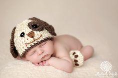 Baby Boy Hat PUPPY LUV Newborn Baby Boy Crochet di JerribeccaHats2, $14.99