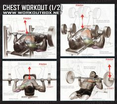 Chest Workout Part 1 - Healthy Fitness Training Routine Arms Abs