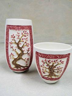 Yow Yow Studio - Sharon Edwards beautiful sgrafitto doodle tree border pottery ceramic clay