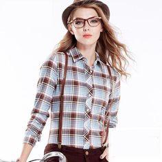 2cb129c32f 2016 Women s Plaid Shirt Blusas Blouses Women Females Fashion 100% Cotton  Brushed