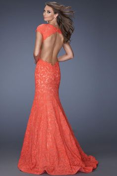 2014 Graceful Prom Dresses Short Sleeve Mermaid Open Back With Trumpet Lace Skirt. PROM PROM PROM