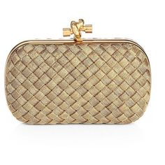 Bottega Veneta Intrecciato Brass Knot Clutch ($4,110) ❤ liked on Polyvore featuring bags, handbags, clutches, bolsas, bolsos, gold, apparel & accessories, clasp purse, bottega veneta and clasp handbag