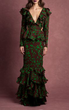 Get inspired and discover Johanna Ortiz trunkshow! Shop the latest Johanna Ortiz collection at Moda Operandi. Ugly Dresses, Modest Dresses, Modest Outfits, Modest Fashion, Boho Fashion, Fashion Dresses, Peplum Long Dress, The Dress, Latest Fashion For Women