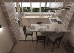 The kitchen on the loggia. Home Interior, Interior Architecture, Interior Decorating, Interior Design, Kitchen Interior, Small Apartment Design, Small Apartments, Design Case, Flat Design