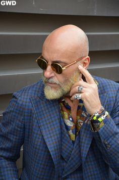 gmenweardaily: Details of the dapper Mr. Bald Men With Beards, Bald With Beard, Grey Beards, Stylish Men Over 50, Shaved Head With Beard, Bald Men Style, Best Mens Sunglasses, Beard No Mustache, Sharp Dressed Man