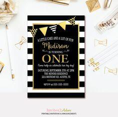 Black & White Stripes Birthday Party Invitation - Black, White and Gold Birthday Invite - 1st brithday Invitation - Party Banner - Printable