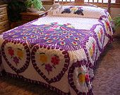 Beautiful chenille double peacock bedspread - white background- vivid colors 103X88