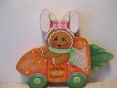 HP Gingerbread Easter bunny and carrot car SHELF SITTER hand painted USA in Crafts | eBay