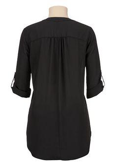 high-low split neck chiffon blouse - maurices.com