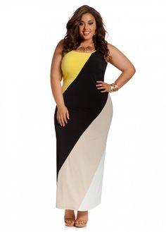 Ashley Stewart Women's Plus Size Color Block Maxi