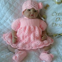 """Baby Doll Knitting Pattern Dress Set For 20""""-22"""" Doll 0-3 Month Baby"""
