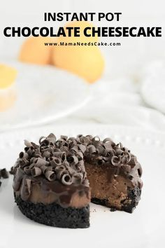 Instant Pot Chocolate Cheesecake is creamy and absolutely delicious. Made with a cookie crust and topped with chocolate ganache. The recipe includes mini cheesecakes! Salted Chocolate, Chocolate Cheesecake, Chocolate Recipes, Cake Chocolate, Cheesecake Recipes, Cookie Recipes, Dessert Recipes, Vegan Recipes, Dinner Recipes
