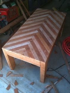 chevron coffee table made from construction waste. by rosalyn chevron coffee table made from construction waste. by rosalyn Diy Furniture Building, Wood Pallet Furniture, Furniture Projects, Wood Pallets, Wood Projects, Pallet Wood, Chevron Coffee Tables, Chevron Table, Reclaimed Wood Coffee Table