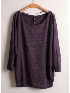 purple batwing sleeve round neck loose T-shirt