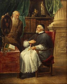Portrait of Gent`s Bishop Antonius Triest & His Brother Eugene, a Capuchin by David Teniers II - Oil On Canvas - Portrait Painting   Hermitage Arts... #portrait_painting #oil_on_canvas