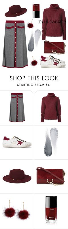 """""""Cozy and Cute: Sweater Dresses"""" by metisu-fashion ❤ liked on Polyvore featuring BY. Bonnie Young, Golden Goose, Clé de Peau Beauté, Nine West, Chloé and Chanel"""