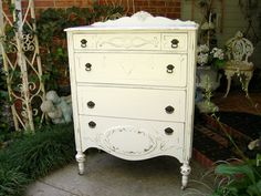 Antique HIGHBOY DRESSER Chest Wood bedroom Furniture Shabby Chic Painted French White. $695.00, via Etsy.