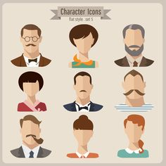 Flat style character icons vector material 04 | Download Free Vector Graphics, Graphic and Web Design Library