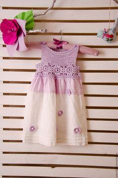 Line dress for girl /Одежда для девочек, ручной работы. Ярмарка Мастеров - ручная работа. Купить Льняное платье для девочки. Handmade. Бледно-сиреневый, цветочный