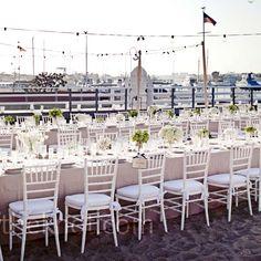 Outdoor marina wedding reception // Photographer: Meg Perotti // http://www.theknot.com/weddings/album/a-beach-wedding-in-newport-beach-ca-86077