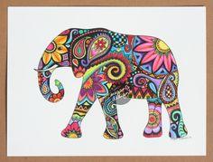 Acuarela original arte de la pintura del elefante por MeganJDesigns