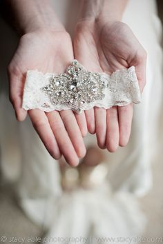 Stella  Back Ordered 3 Weeks    Vintage inspired garter with Swarovski crystal hand beaded jewels on French imported ivory lace. Toss garter includes matching crystal jewels.