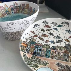 Cute plates and pots and u can make some of these with kids too!!!