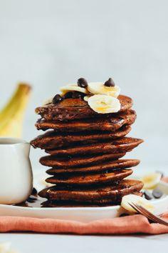 AMAZING Vegan Chocolate Chocolate Chip Pancakes! 20 minutes, naturally sweetened, SO fluffy! #vegan #glutenfree #breakfast #chocolate #pancakes #recipe #minimalistbaker