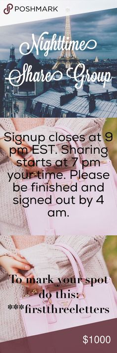 🌜OPEN🌛Monday Night Share Group ⭐️Sharing starts at 7pm your time⭐️Signup closes at 9pm EST⭐️Please finish sharing and signed out by 4am your time⭐️Please only join this group if you have at least 1,000 shares⭐️Share 8 items from each closet⭐️Don't share to parties, only share to your followers⭐️If you are new, please write *NEW* next to your name⭐️ Other
