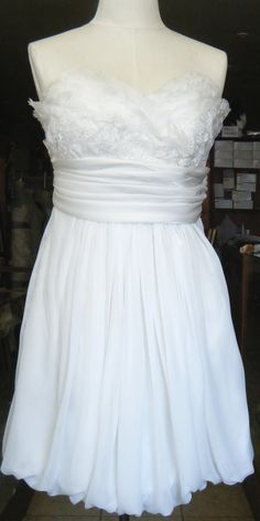 pretty going away dress! FUN Antique Lace & Chiffon Short Wedding Dress handcrafted in Canada. $375.00, via Etsy.