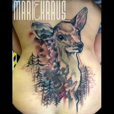 A water colour style deer tattoo on the back. Done at #ourfuturetattoo #mariekraus #tattoo #fawn #forest #bambi #femaletattooartist #colour #brno #coverup
