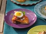 Crispy Bacon and Hash Brown Quesadillas with Fried Quail Eggs recipe from Bobby Flay #brunch #eggs
