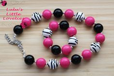 Zebra Chunky Necklace Print Black Hot Pink White Necklace Bracelet Set Bubblegum Bead Set Childrens Costume Jewelry  Photography Birthday (12.50 USD) by CLulusLittleLovelies