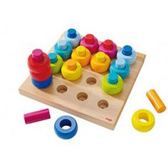 HABA Rainbow Whirls Pegging Game - interchangeable pieces challenge you toddler to stack, configure and construct. Made in Germany. Haba Fantasy Blocks are child-safe, non-toxic. Wooden Toys For Toddlers, Games For Toddlers, Toddler Toys, Baby Toys, Kids Toys, Children Play, Wooden Pegboard, Magazines For Kids, Birthday Games