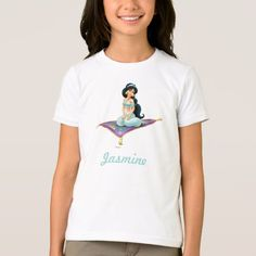 Shop Jasmine on Magic Carpet T-Shirt created by DisneyPrincess. Magic Carpet, Jasmine, Fitness Models, T Shirts For Women, Casual, Fabric, Sleeves, Cotton, How To Wear