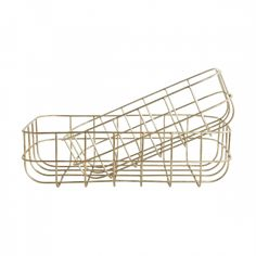 Corbeille Simply Shiny Gold S - House Doctor Gold Wire Basket, Metal Baskets, Storage Baskets, House Doctor, Home Office Accessories, Gold Bathroom Accessories, Kitchen Accessories, Teak, Messy People