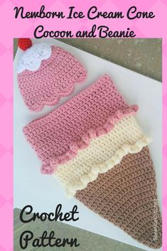 What a cute idea for a baby shower gift. I have two girlfriends having baby girls and I want to make this for them. Crochet Baby, Free Crochet, Knit Crochet, Homeade Gifts, Knitting Patterns, Crochet Patterns, Inspirational Gifts, Crafts To Do, Icecream