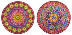 Pair of Glittered Colorful Sticker Rangoli Print on Paper (Ritual Print on Sticker for Wall or Floor Decoration)
