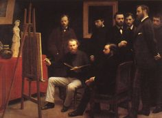 Henri Fantin-Latour (1836-1904), Un atelier aux Batignolles (A Studio in the Batignolles), 1870 The Batignolles was the district in Paris where Manet had his studio and many of the future impressionists lived. Seated in front are Edouard Manet (the...