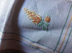 Four Vintage Linen Napkins, Light Beige With Flowers Embroidery, Green Edge