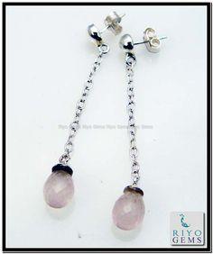 Rose Quartz Silver Earring Riyo Gems www.riyogems.com