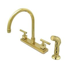 Elements Of Design Claremont Polished Brass 2-Handle High-Arc Kitchen Faucet With Side Spray Es8792cql