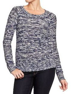 Womens Marled Slub-Knit Sweaters