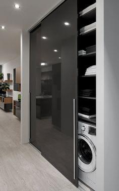 satniskrin skrin wardrobe slidinigdoor offene K che - My Modern Laundry Rooms, Laundry Room Design, Home Room Design, Dream Home Design, Bathroom Interior Design, Living Room Modern, Kitchen Interior, Küchen Design, Design Case